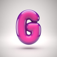 Round pink glossy font 3d rendering letter G