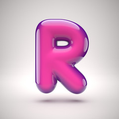 Round pink glossy font 3d rendering letter R
