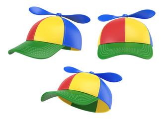 Kids cap with propeller, colorful hat, various views, 3d rendering Wall mural