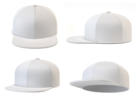 White snap back mock up, blank hat template, various views, isolated on white background 3d rendering