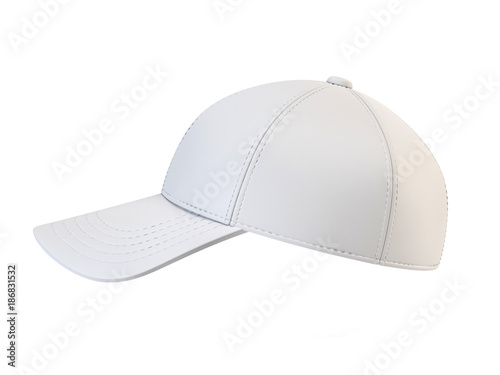 White Baseball Cap Mock Up Blank Hat Template Isolated On Background 3d Rendering