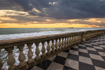 fiery sunset on the Mascagni terrace in Livorno