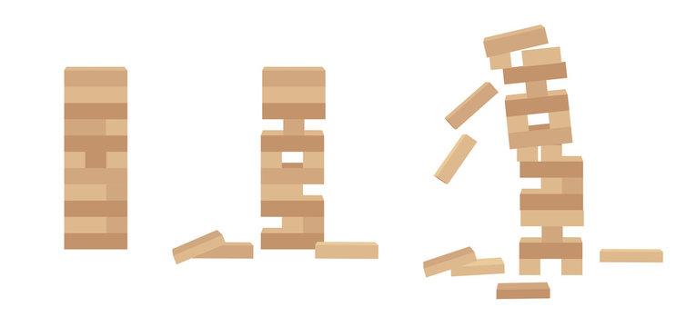 Set of tower game jenga. Wooden block game