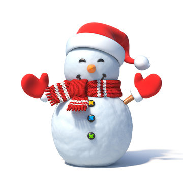 Snowman with Santa's hat 3d rendering