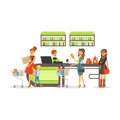 People shopping in supermarket, women paying purchase at cashier desk colorful vector illustration