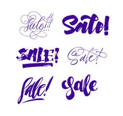 Sale set calligraphy lettering. Violet