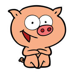 cheerful sitting pig cartoon