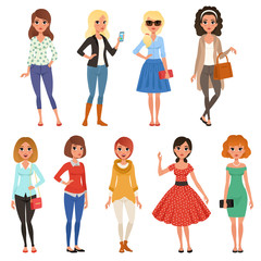 Set of attractive girls in fashionable casual clothes with accessories. Full-length of cartoon female characters with cheerful face expressions. Flat vector design