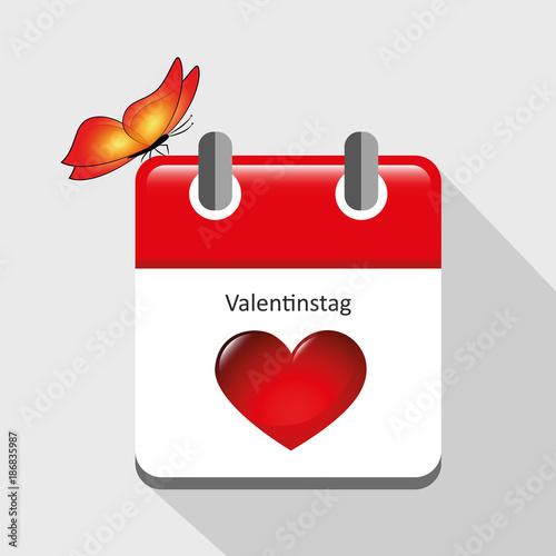 Kalender Rot Valentinstag Herz Und Schmetterling