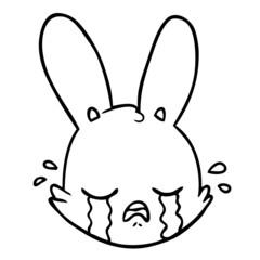 cartoon crying bunny face