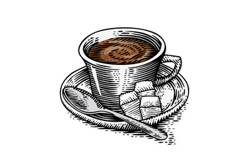 Cup of coffee with sugar and teaspoon