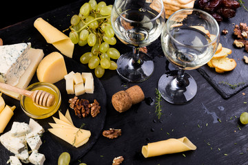 Cheese plate. Assortment of cheese