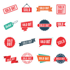 Sold out banners, labels, stamps, and signs isolated on white background