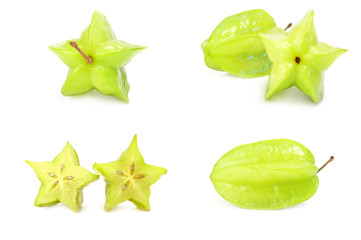 Collection of carambola close-up isolated on white background