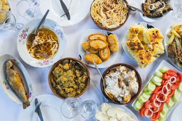Adjarian and georgian traditional food. Overhead view. Selective focus. Adjara- region in Georgia.