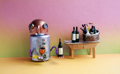 Wine bar party event concept. Funny robot alcoholic drink wine. Creative design copper head cyborg toy gets drunk. Wooden table, bucket with bottles, pink yellow gradient room interior