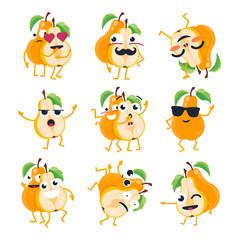 Funny pears - vector isolated cartoon emoticons