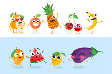Funny fruit characters - set of vector isolated illustrations