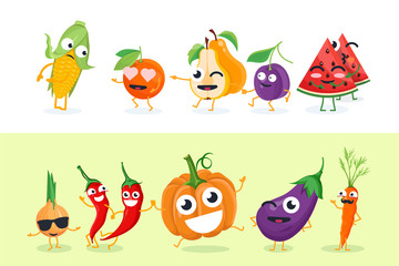 Funny fruit and vegetables - set of vector isolated characters illustrations