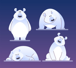 Cute polar bear - modern vector cartoon characters illustration