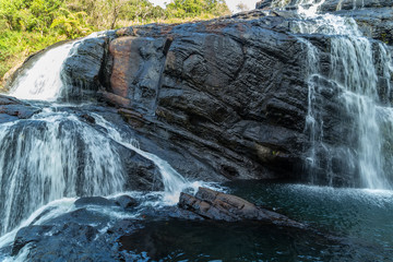 The Bakers Falls in the Horton Plains gets its water from the Belihul Oya. Sri Lanka.