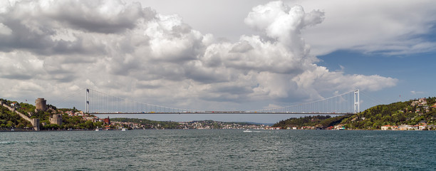 Panorama of Cityscape First Bosporus Bridge connecting Europe and Asia, Outdoor Istanbul city. Turkey landmark