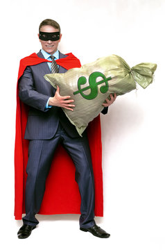 Super hero money man with money bag isolated on white background. Financial help.