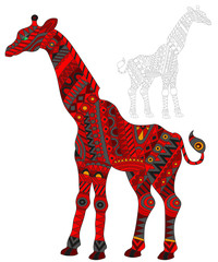 Illustration of abstract red giraffe, animal and painted its outline on white background , isolate