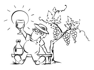 Young wine tasting / An elderly wine grower tries wine, vector illustration