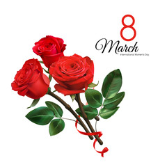8 March Women's Day greeting card template. Realistic red roses isolated on white background.
