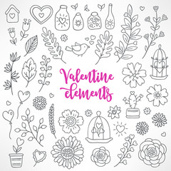 Collection of hand drawn Valentine elements