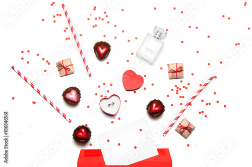 valentine s day flat lay top view isolated on white background