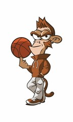 Monkey Basketball Cartoon Mascot