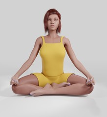 Beautiful girl meditates. Sits in the lotus position. Yoga. 3D rendering