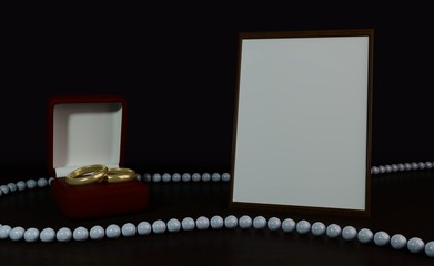 Wedding picture, template. Frame for photography on the table, a box with two wedding rings, beautiful beads. It's romantic. 3D rendering