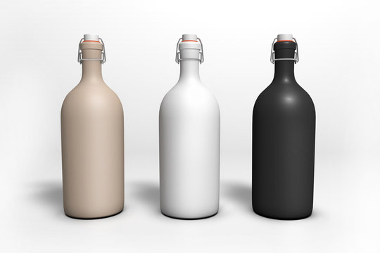 Blank bottles with cork with different colors. 3D