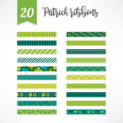 Set of St.Patrick's Day seamless ribbons with clover, stripes