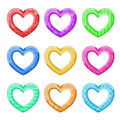 Funny hearts multicolored on white