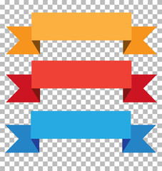 three ribbon banner on transparent background. ribbon sign. red, blue, yellow banner.