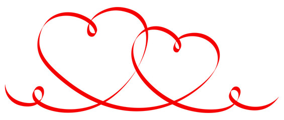 2 Connected Red Calligraphy Hearts