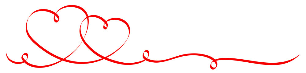 2 Connected Red Calligraphy Hearts 2 Swirls Ribbon Banner