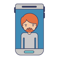 smartphone man profile picture with short hair and van dyke beard in colorful silhouette
