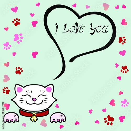 Cute i love you card with white cat template for st valentines cute i love you card with white cat template for st valentines day stopboris Gallery