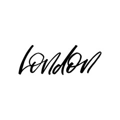 Hand drawn lettering card. The inscription: London. Black and white.Perfect design for greeting cards, posters, T-shirts, banners, print invitations.