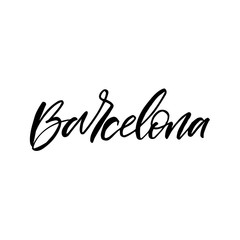 Hand drawn lettering card. The inscription: Barcelona.Black and whte. Perfect design for greeting cards, posters, T-shirts, banners, print invitations.