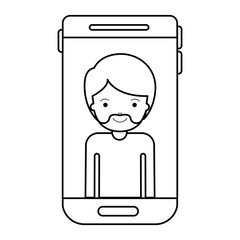 smartphone man profile picture with short hair and van dyke beard in black silhouette