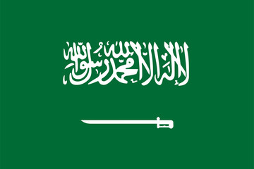Saudi Arabia flag standard size in asia. Vector illustration