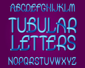 Tubular Letters typeface. Gradient plastic font. Isolated english alphabet.