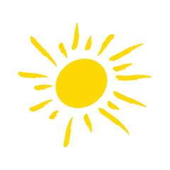 Odręcznie narysowane słońce na białym tle