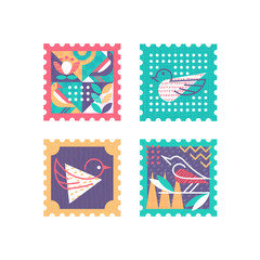 Ornamental set of color and textured postage stamps with nature symbols, birds and leafs. Vector postal decorative design elements.